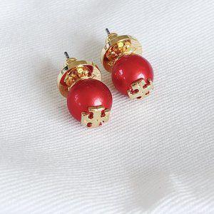 Tory Burch Simple Gold Logo Pearl Earrings